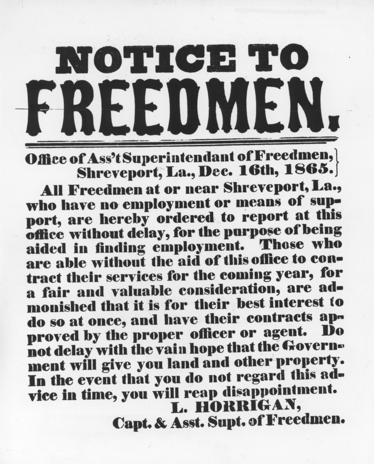 printed broadside warning ex-slaves to contract