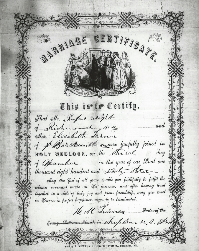 Marriage Certificate Of A Virginia Black Soldier And His Wife